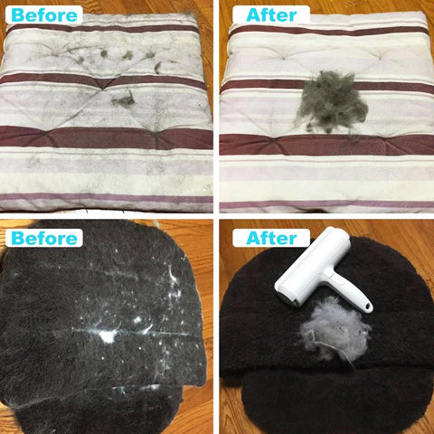 Before and after using fur predator for pet hair | Malmute Pet Shop
