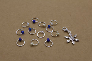 Frozen Fractals Progress Keeper + Beaded Stitch Marker Set