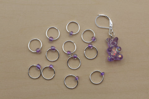 Purple Gummy Bear Progress Keeper + Beaded Stitch Marker Set