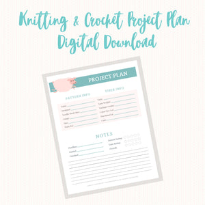 Knitting Project Planner Page, Digital Download