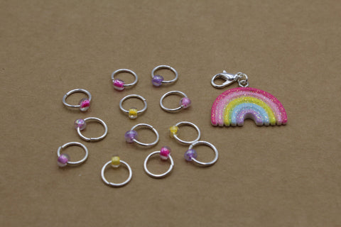 Pastel Rainbow Progress Keeper + Beaded Stitch Marker Set