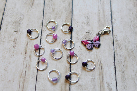 Orchid Butterfly Progress Keeper + Beaded Stitch Marker Set