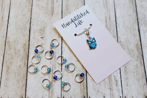 Sapphire Owl Progress Keeper + Beaded Stitch Marker Set
