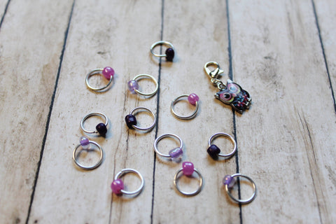 Orchid Purple Owl Progress Keeper + Beaded Stitch Marker Set