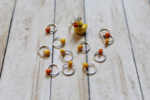 Rubber Ducky Progress Keeper + Beaded Stitch Marker Set