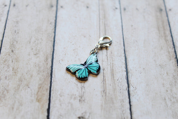 Blue Morpho Butterfly Progress Keeper + Beaded Stitch Marker Set