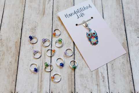Sapphire Whimsical Owl Progress Keeper + Beaded Stitch Marker Set