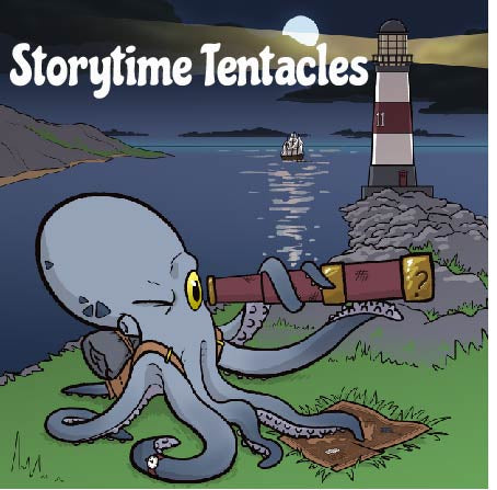image of grey octopus with small yellow eyes holding up a telescope and with his other tentacles over a map.