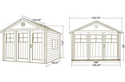 Lifetime 11x11 Plastic Outdoor Storage Shed 6417 Dimensions