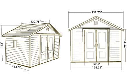 Lifetime 11x11 Plastic Outdoor Storage Shed Dimensions