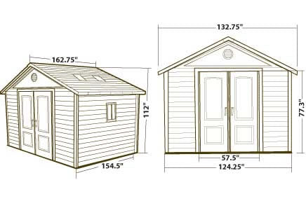 Lifetime 11x13 Plastic Outdoor Storage Shed 6415 Dimensions
