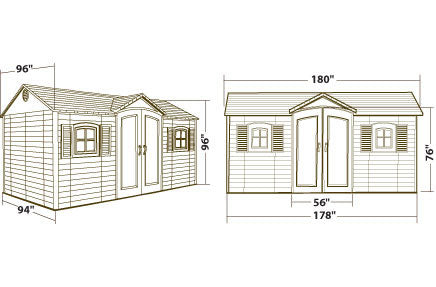 Lifetime 15x8 Plastic Outdoor Storage Shed 6446 Dimensions