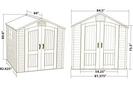 Lifetime 7ft Plastic Outdoor Storage Shed 60042 Dimensions