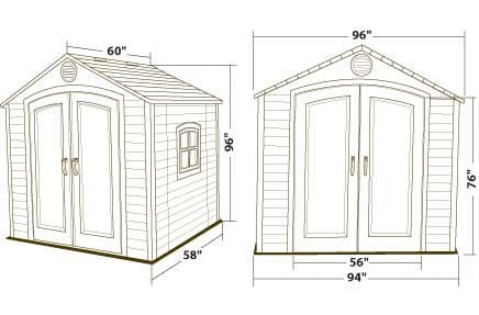 Lifetime 8x5 Plastic Outdoor Storage Shed 6016 Dimensions