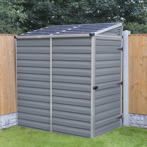 Palram 4x6 Lean-To Skylight Storage Shed Kit - Gray