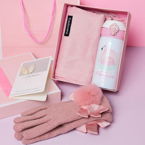 pink Christmas gift box includes pink scarf, pink gloves and thermos
