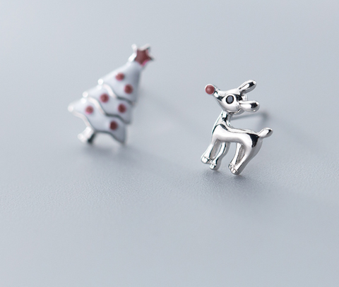 silver tiny Christmas tree and deer pattern earrings