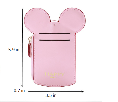 Women Cute Animal Shape Mini Neck Wallet Lady ID Bag Card Holder Coin Purse, Good For Traveling & Daily Life