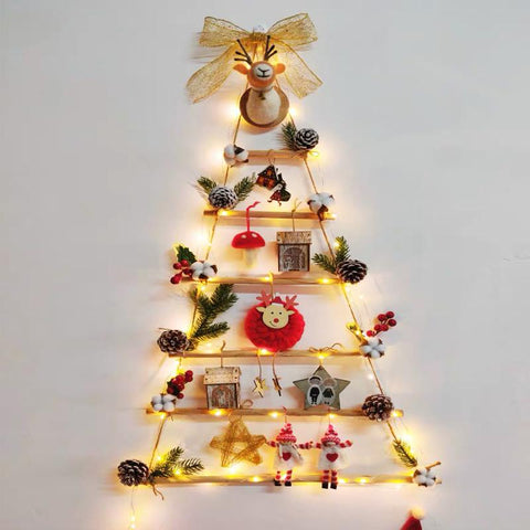 DIY lighted and decoration Christmas tree for wall