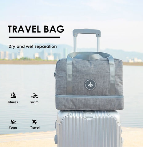 Dry And Wet Separation Storage Bag Waterproof Gym Training Handbag For Overnight Travel Cosmetic Toiletries Pockets And Shoe Compartment