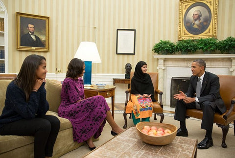 Malala Yousafzai at Oval Office with Barack Obama and his family in 2013