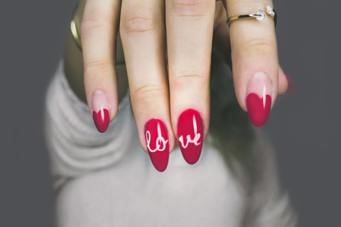 red and white love nails, Christmas nails