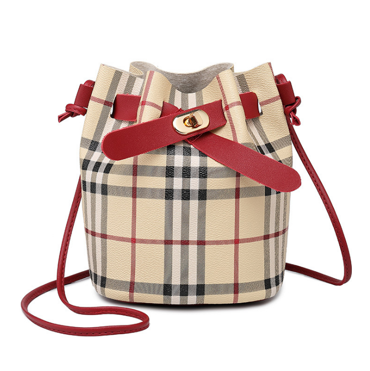 plaid patterned bucket bag for women