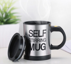 Load image into Gallery viewer, Black Self Stirring Mug with lid