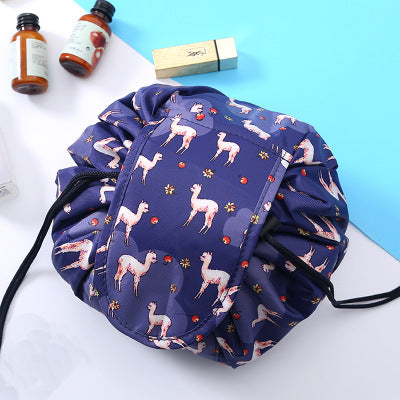 Cargar imagen en el visor de la galería, Products Flat Lay Portable Lazy Drawstring Lay-n-Go Makeup Bag Animal Printing Colorful Large Capacity 20inch Cosmetic Storage