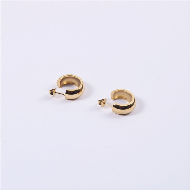 Load image into Gallery viewer, Stacked Exaggerated Minimalist Round Gold Hoop Earrings Titanium Steel Furnace Vacuum Plating Fine Jewelry For Women Girls