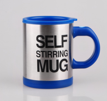 Navy Blue Lazy Cup Magnetic Stainless Steel Self Stirring Coffee Mug