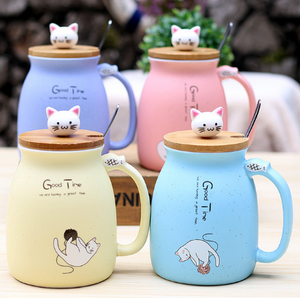 Blue,Pink,yellow,Sky Blue Porcelain Ceramic Cat Themed Cute Mugs with Kitten Head Spoon Holder