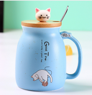 Load image into Gallery viewer, Blue color sesame cat mug heat-resistant cup color cartoon with lid cup kitten milk coffee ceramic mug