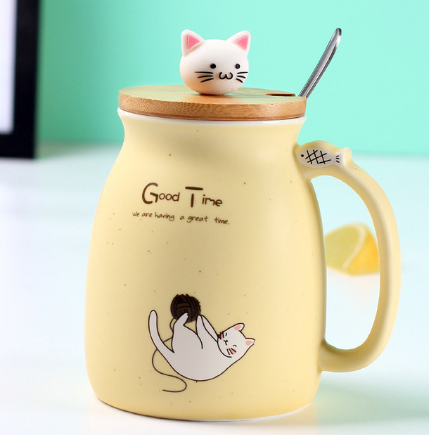 Load image into Gallery viewer, sesame cat mug heat-resistant cup color cartoon with lid cup kitten milk coffee ceramic mug