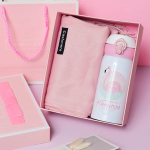 Gift Box With Gloves, Cashmere Scarf, Insulation Cup, Flamingo Thermos, String Lights And Pink Rabbit For Birthdays, Christmas And Surprises Choose The Style And Ready To Go