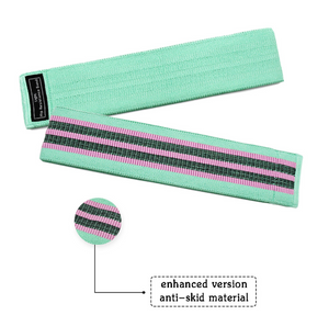 Green unisex fabric exercise resistance bands stretching durable non-slip for legs and butt loops for gym
