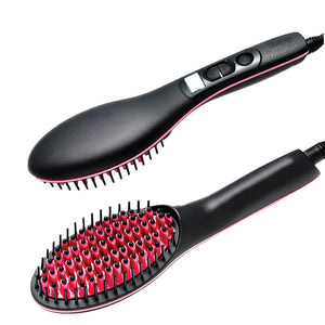 Portable Magic Hair Straightening Brush Hot Heated Ceramic Tool