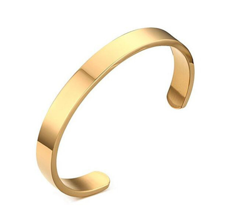 Personalized C-shaped Cuff Bracelet Stainless Steel Various Sizes Inspirational Jewelry For Men Women, Silver/Black/Gold/Rose Gold