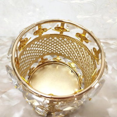 Retro style vintage round shape makeup brush holder gold glass storage tube for bathroom vanity countertops or cabinet stores cosmetic tool organizer
