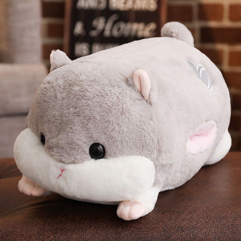 Load image into Gallery viewer, Cute Hamster Big Plush Toy Sleeping Hugging Cuddling Body Pillow Stuffed Animal Doll Cot Fluffy Soft Home Decor