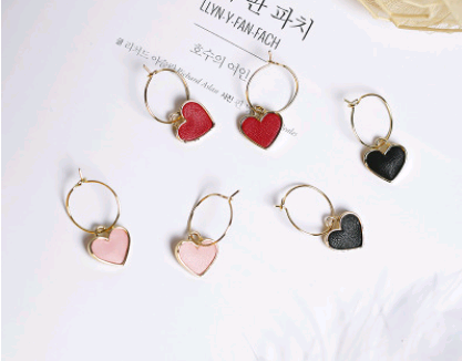 small heart shaped pendant small hoop gold earrings with color options