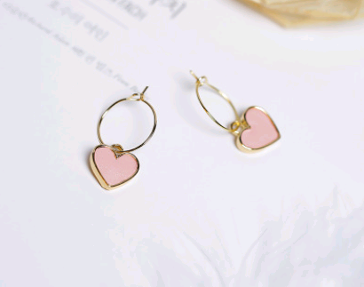 Load image into Gallery viewer, pink small heart dangle drop pendant earrings