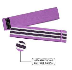 Purple unisex fabric exercise resistance bands stretching durable non-slip for legs and butt loops for gym