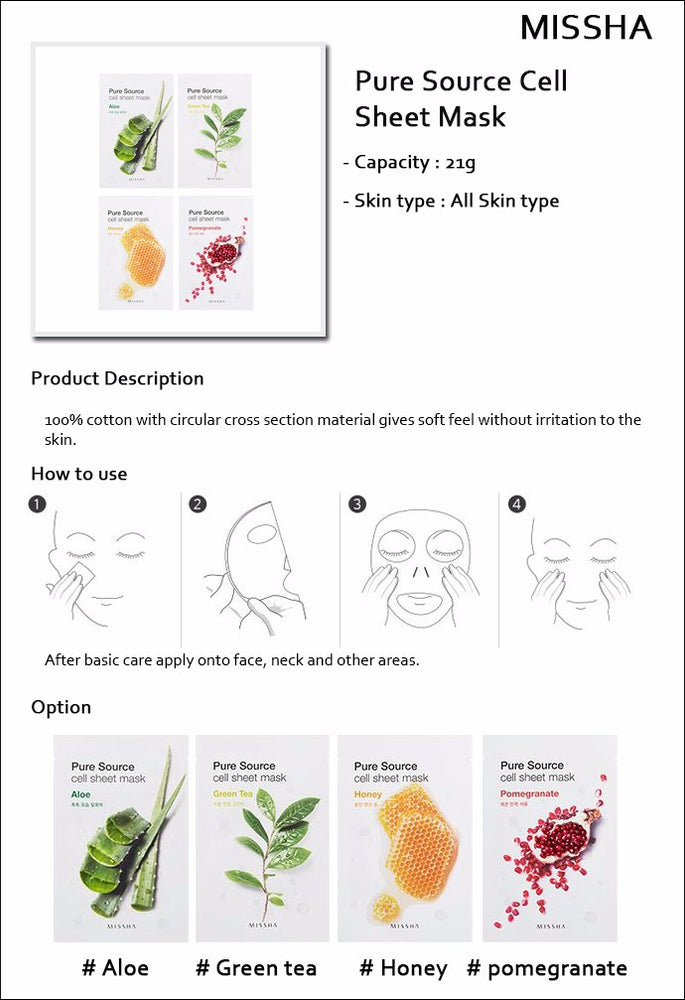 [Missha] Pure Source Cell Sheet Mask Aloe 100% Pure Cotton Skin-Friendly