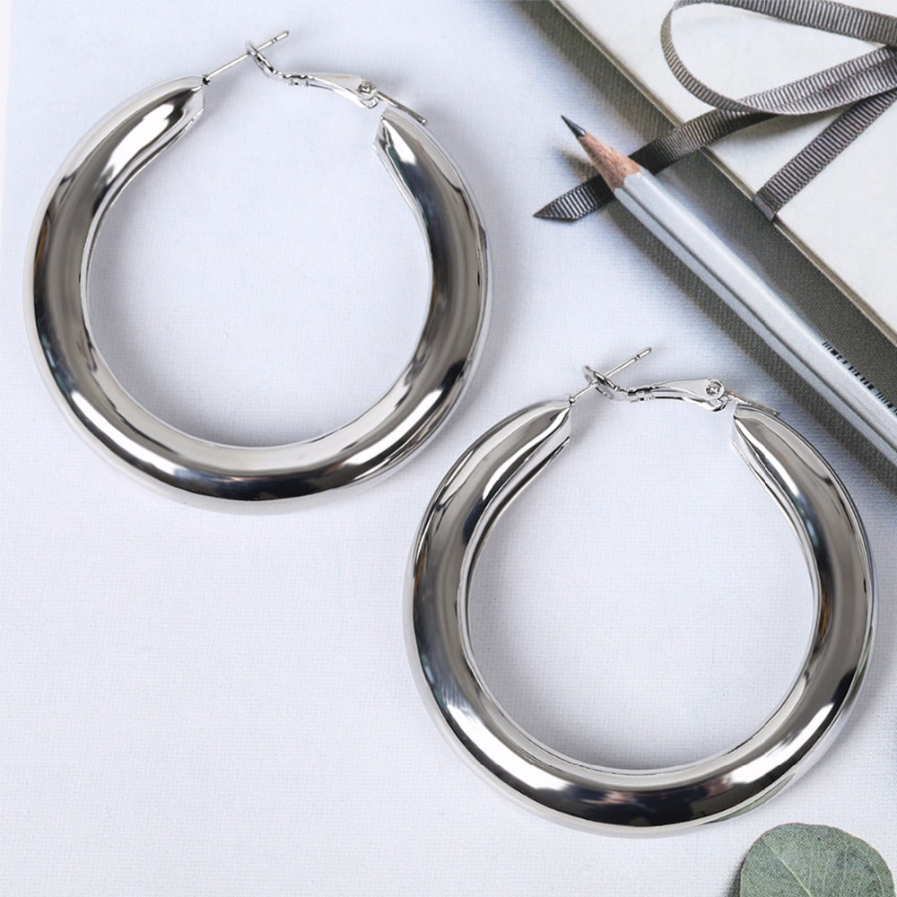Exaggerated Gold & Silver Simple Aesthetic Zinc Alloy Hypoallergenic Large Round Circle Hoop Earrings