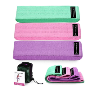 Unisex fabric exercise resistance bands stretching durable non-slip for legs and butt loops for gym with different color options