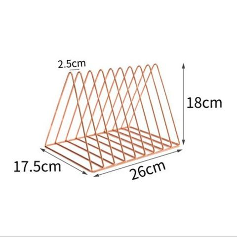 Triangle File Organizer Book and Magazine Holder Gold and Rose Gold For Office Home Shelf Display 9 Slots Iron Stand