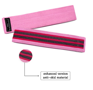 Pink unisex fabric exercise resistance bands stretching durable non-slip for legs and butt loops for gym