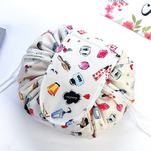 Products Flat Lay Portable Lazy Drawstring Lay-n-Go Makeup Bag Animal Printing Colorful Large Capacity 20inch Cosmetic Storage