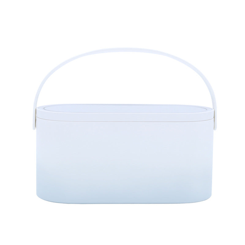 Multifunctional portable makeup cosmetic jewelry organizer storage white box with led mirror for travel, office, and home use